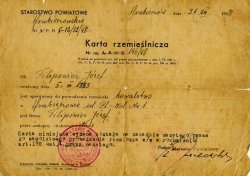 Craftsman's card issued to Józef Filipowicz by the Hrubieszów County Office.
