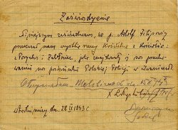 Certificate of September 1943 confirming Adolf Filipowicz's donation to the churches in Poryck and Zabłocie.