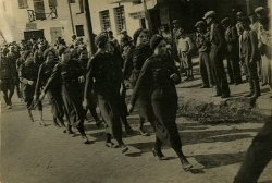 Parade of women doing military training in Poryck, 1930s.